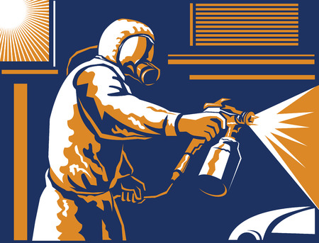 spraying: Illustration of a spray painter spraying paint with air-pressurized spray gun viewed from the side done in the retro style of the 1930s.