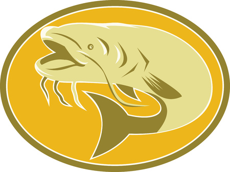 barbel: Illustration of a catfish fish swimming set inside ellipse oval done in art deco retro style on isolated background.