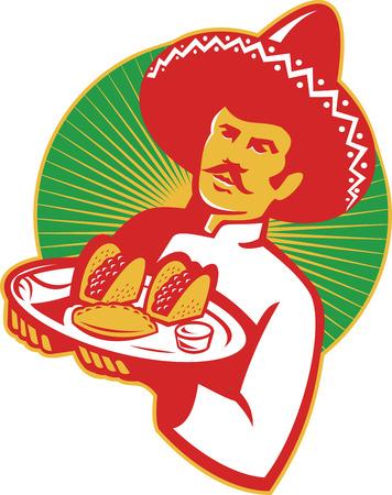 Illustratie van een Mexicaanse chef-kok dragen sombrero hoed waar een bord vol