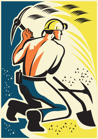 coal mine: Illustration of a coal miner mining digging with pick ax inside mine done in retro style.