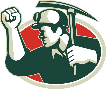 pick ax: Illustration of a coal miner pumping fist with pick ax viewed from side set inside oval done in retro style.