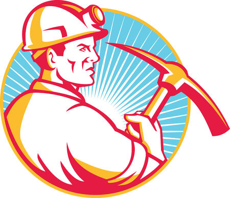 pick axe: Illustration of a coal miner hardhat with pick axe viewed from side set inside circle and sunburst in background done in retro style. Illustration