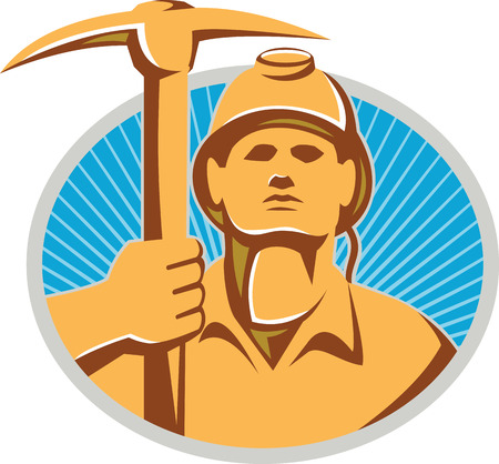 pick ax: Illustration of a coal miner facing front holding a pick ax set inside oval with sunburst in the background done in retro style.