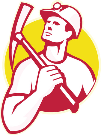 pick ax: Illustration of a coal miner holding a pick ax on shoulder looking up to the side set inside circle done in retro style. Illustration