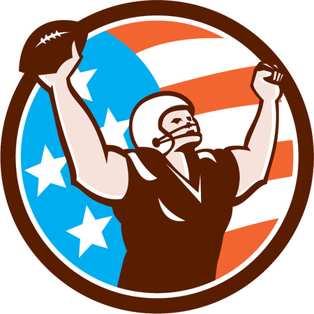 touchdown: Illustration of an american football with helmet holding ball over head celebrating touchdown viewed from the front set inside circle on isolated background done in retro style.