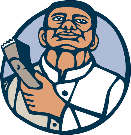 linocut: Illustration of an African-American barber holding a hair clipper facing front looking up set inside circle done in retro woodcut linocut style on isolated background. Illustration