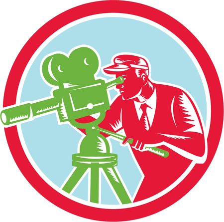 filmmaker: Illustration of a cameraman movie director with filming vintage camera shooting looking into lens viewed from the side set inside circle done in retro woodcut style.