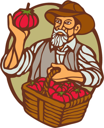 woodblock: Illustration of an organic farmer carrying basket of tomatoes set inside circle done in retro woodcut linocut style. Illustration