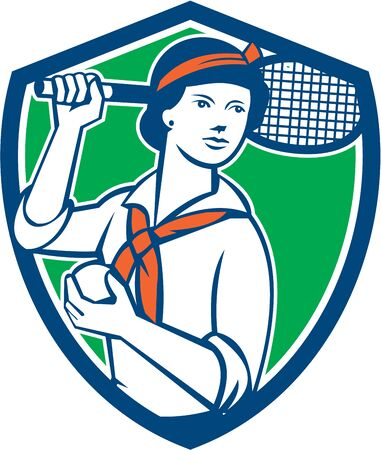 over the shoulder: Illustration of a female tennis player holding racquet over shoulder set inside shield crest on isolated background done in vintage retro style.