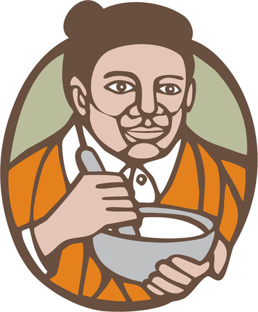 oval shape: Illustration of granny chef, cook or baker holding mixing bowl set inside oval shape on isolated background done in woodcut linocut style. Illustration