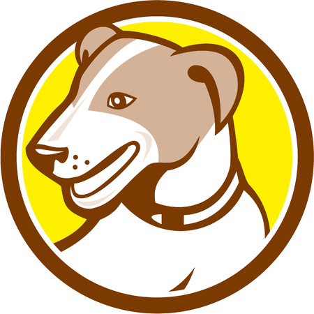 jack russell: Illustration of a jack russell terrier dog head looking to the side set inside circle on isolated background done in cartoon style. Illustration