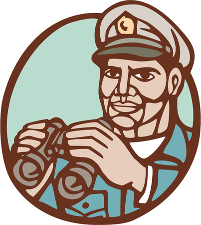admiral: Illustration of a navy admiral officer holding binoculars set inside circle on isolated background done in woodcut linocut style.