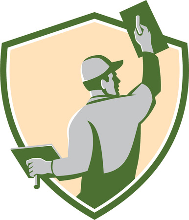 trowel: Illustration of a plasterer masonry tradesman construction worker with trowel viewed from the back set inside shield crest done in retro style on isolated background