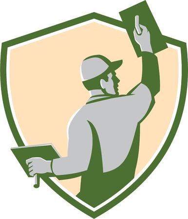 Ilustración de un trabajador de la construcción de mampostería yesero comerciante con la paleta se ve desde la parte posterior situada en el interior cresta escudo hecho en estilo retro en el fondo aislado Ilustración de vector