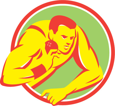 shot put: Illustration of a track and field shot put athlete ready to throw ball set inside circle on isolated background done in retro style.