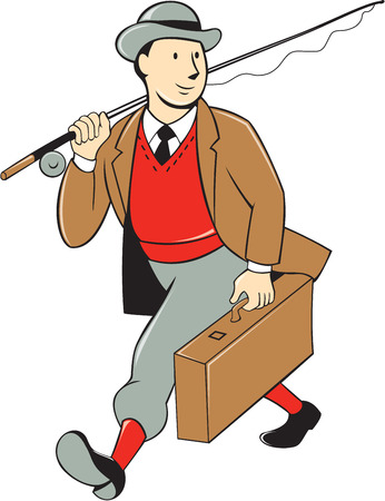 fly fisherman: Illustration of a vintage fly fisherman tourist wearing bowler hat and vest with fly rod and reel carrying luggage walking looking to side on isolated background done in cartoon style .