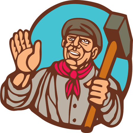 woodblock: Illustration of a union worker holding sledgehammer hammer set inside circle on isolated background done in woodcut linocut style. Illustration