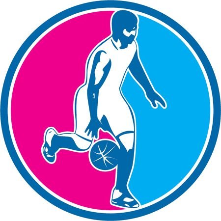 dribbling: Illustration of a basketball player dribbling ball facing side set inside circle done in retro style.