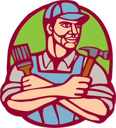 printmaking: Illustration of a builder carpenter construction worker holding hammer and paintbrush arms crossed looking to the side set inside circle on isolated background done in woodcut linocut style.