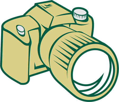 Illustration of a camera dslr facing front set on isolated white background done in retro style. Illustration
