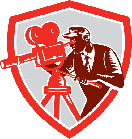 filmmaker: Illustration of a cameraman movie director with filming vintage camera shooting looking into lens viewed from the side set inside shield crest done in retro woodcut style.