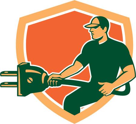 plug electric: Ilustraci�n de un trabajador electricista llevar enchufe el�ctrico enchufar frente a lado fij� dentro cresta escudo sobre fondo aislado hecho en estilo retro. Vectores