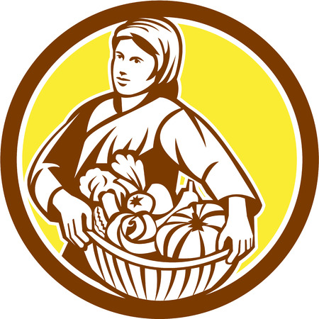 Illustration of a female organic farmer carrying basket full of vegetables fruits harvest looking to the side set inside circle on isolated background done in retro style.