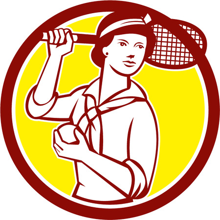 over the shoulder: Illustration of a female tennis player holding racquet over shoulder set inside circle on isolated background done in vintage retro style. Illustration