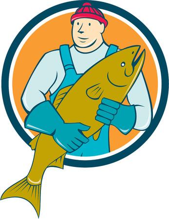 visboer: Illustratie van een slager visboer werknemer met zalm vissen naar de voorkant set binnen cirkel op geïsoleerde achtergrond gedaan in cartoon stijl.