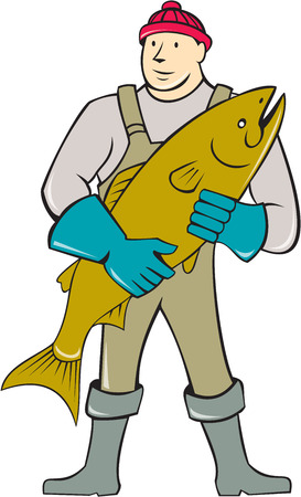 Illustration of a butcher fishmonger worker standing holding salmon fish facing front set on isolated white background done in cartoon style. Vector