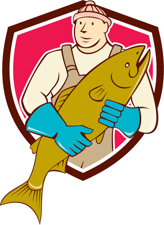 fishmonger: Illustration of a butcher fishmonger worker holding salmon fish facing front set inside shield crest on isolated background done in cartoon style.