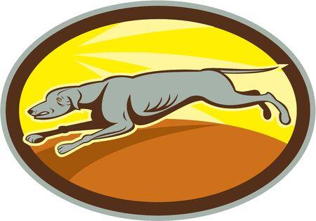chart: Ilustracja wyścigów chartów skoki pies jazdy patrząc z boku ustawić wewnątrz owalu na pojedyncze tle wykonanej w stylu kreskówki.