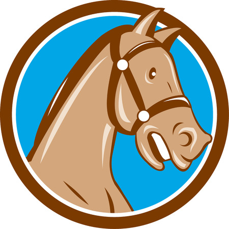 bridle: Illustration of a horse head with bridle viewed from the side set inside circle on isolated background done in cartoon style.