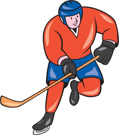 ice hockey player: Illustration of an ice hockey player with hockey stick in action playing set on isolated white background done in cartoon style.