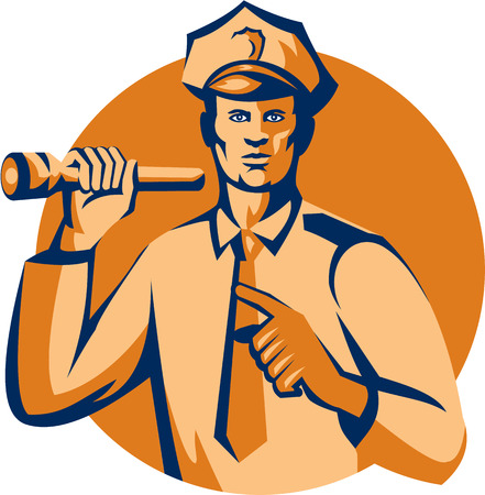 enforcement: Illustration of a policeman police officer holding torch flashlight pointing facing front  set inside circle on isolated background done in retro style.
