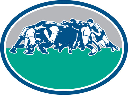 scrum: Illustration of rugby union players in a scrum set inside oval with done in retro style.