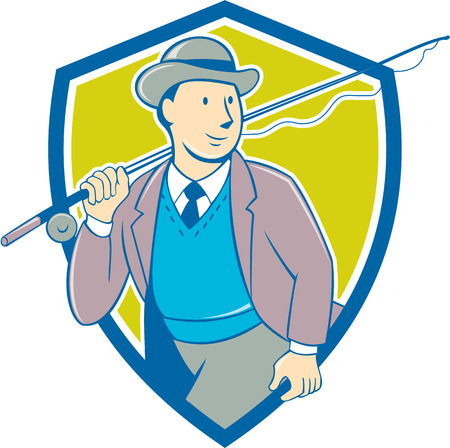 fly fisherman: Illustration of a vintage fly fisherman tourist wearing bowler hat and vest with fly rod and reel set inside shield done in cartoon style .