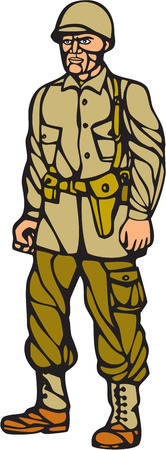 world war two: Illustration of an American World War two soldier serviceman standing on isolated white background  done in woodcut linocut style.