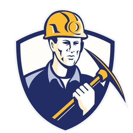 pick ax: Illustration of a coal miner holding a pick ax facing front set inside shield crest on isolated background done in retro style. Stock Photo