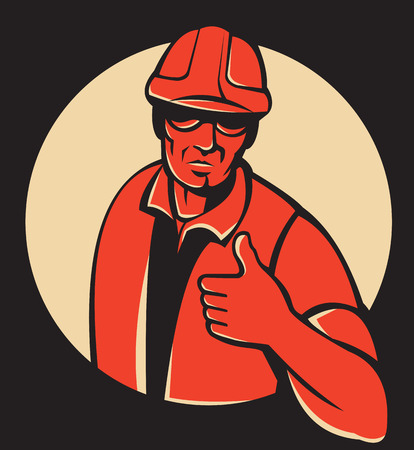 foreman: Illustration of a construction worker foreman engineer holding thumbs up viewed from front set inside circle done in retro style on black background. Illustration