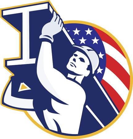 Illustratie van een constructie van staal werknemer die een i-beam ligger vanuit lage hoek set binnen cirkel met Amerikaanse sterren en strepen vlag op de achtergrond gedaan in retro stijl.