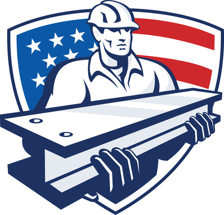 steel worker: Illustration of a construction steel worker carrying an i-beam with American stars and stripes flag in the background set inside shield done in retro style.