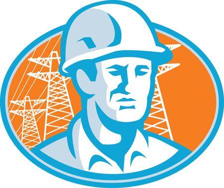 torres de alta tension: Ilustración de un supervisor trabajador ingeniero de la construcción con casco de seguridad dentro de óvalo con torres de alta tensión en el fondo.