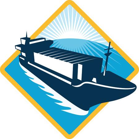 Illustratie van een containerschip boot varen vanuit de hoge hoek ingesteld binnen diamantvorm gedaan in retro stijl met sunburst in de achtergrond.