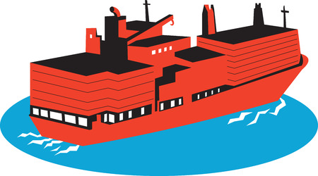 container cargo ship: Illustration of a container cargo ship boat on high seas done in retro style on isolated white background. Illustration