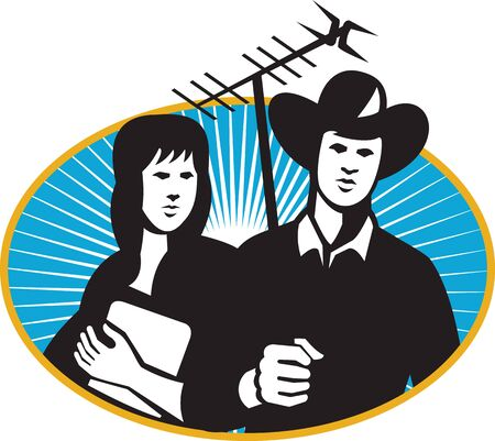 television aerial: Illustration of a cowboy holding tv aerial outdoor antenna and girl with folder notebook set inside oval with sunburst in the background done in retro style. Illustration