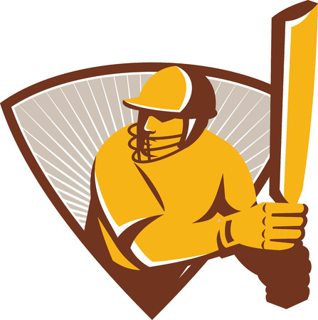 batsman: Illustration of a cricket batsman with bat batting set inside shield crest with sunburst in the background done in retro style.