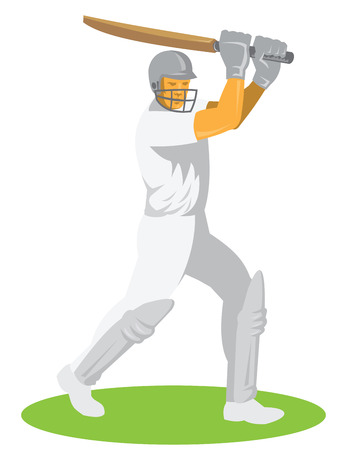 batsman: Illustration of a cricket player batsman batting facing front set on isolated white background done in retro style. Illustration