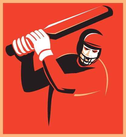 batsman: Illustration of a cricket player batsman batting set inside square on isolated background done in retro style.