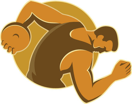 discus: Illustration of a male discus thrower throwing viewed from side done in retro style set inside circle on isolated background. Illustration